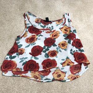 Forever 21 flowy rose patterned crop top